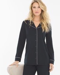 Embraceable Long Sleeve Notch Collar Pajama Top Black