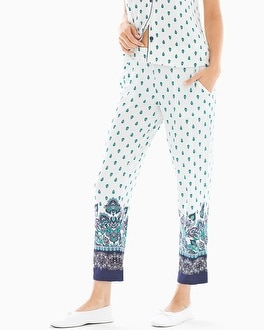 Cool Nights Ankle Pajama Pants Paramount Border Ivory