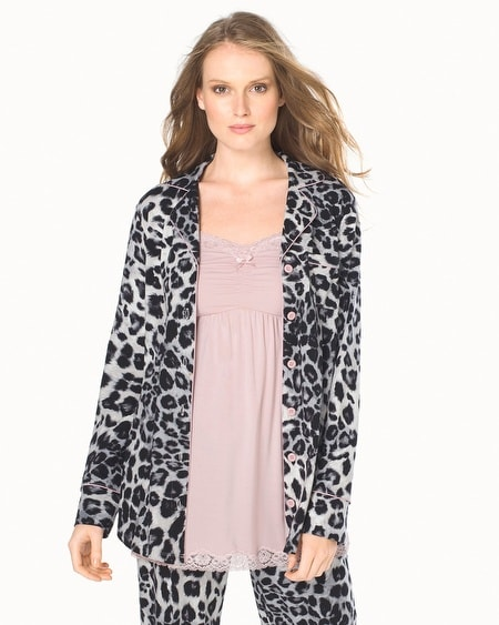 Long Sleeve Pajama Top Lovely Leopard Ivory