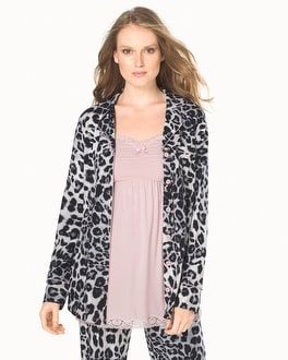 Embraceable Long Sleeve Pajama Top Lovely Leopard Ivory