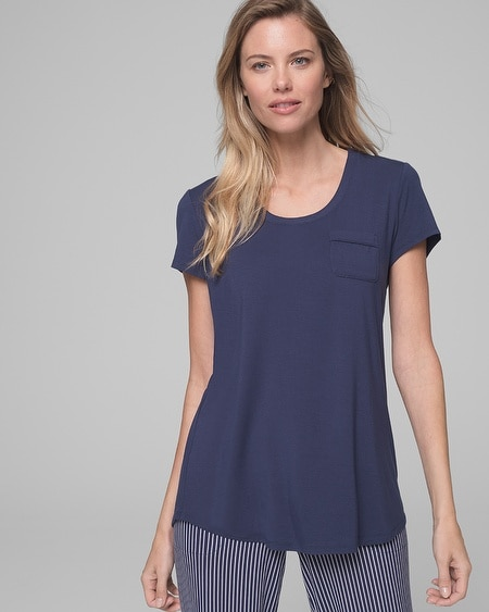Short Sleeve Pajama Tee with Pocket Navy