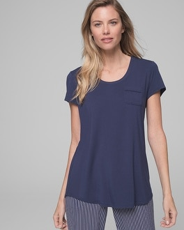 Cool Nights Short Sleeve Pajama Tee with Pocket Navy