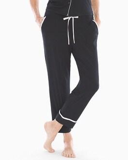 Satin Trim Ankle Pajama Pants Black by Cool Nights