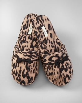 Embraceable Uptown Leopard Natural Bow Slippers