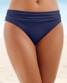 La Blanca Shirred Swim Hipster Navy