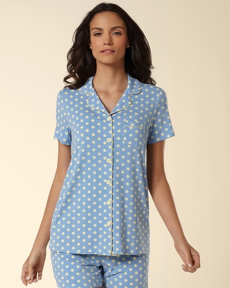 Short Sleeve Notch Collar Pajama Top Big Dot Wishful
