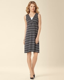Faux Front Wrap Dress Dotted Line