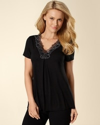 Embraceable Cool Nights Black Short Sleeve PJ Top