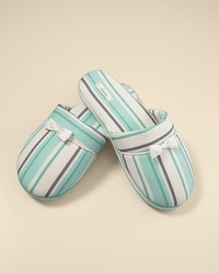 Cool Nights Tactic Stripe Teal Slippers