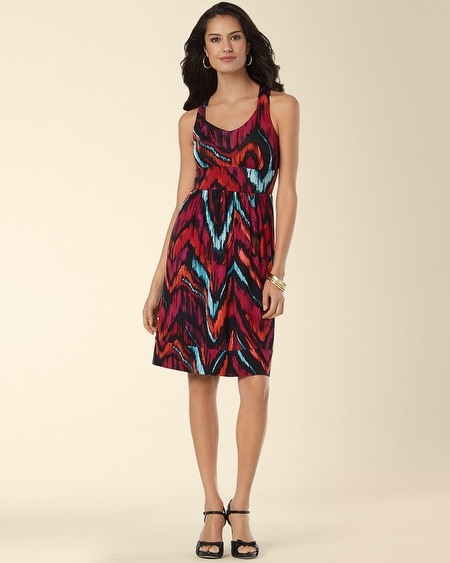 Sleeveless Cross-Back Short Dress Fusion Ikat Java