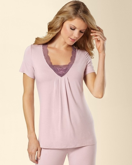 Deco Lace Short Sleeve Sleep Top Rosette