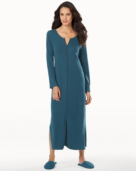 Long Zip Cashmere Robe Teal