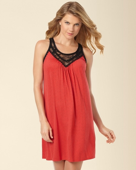 Midnight Rose Sleep Chemise Stars Black on Red
