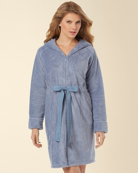 Hooded Short Zip Robe Rain