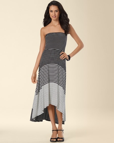 High-Low Bandeau Dress Mixed Stripe Black/Ivory