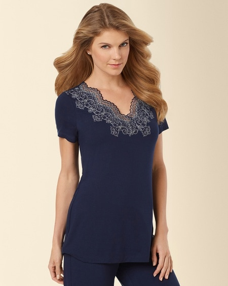 Scroll Lace Pajama Top Navybound
