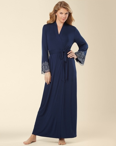 Scroll Lace Long Robe Navybound