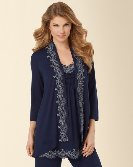 Scroll Lace Pajama Wrap Navybound