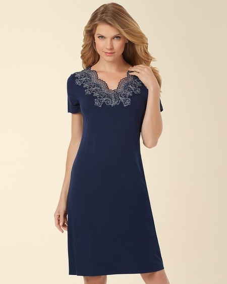 Scroll Lace Sleepshirt Navybound