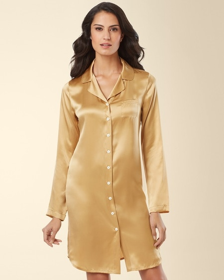 Silk Notch Collar Sleepshirt Gold