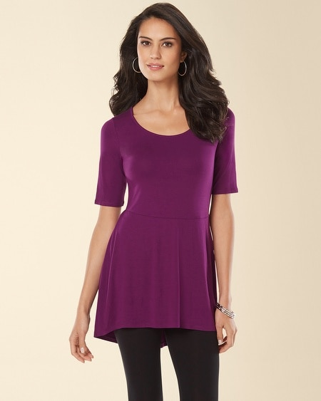 Short Sleeve Peplum Tunic Warm Plum