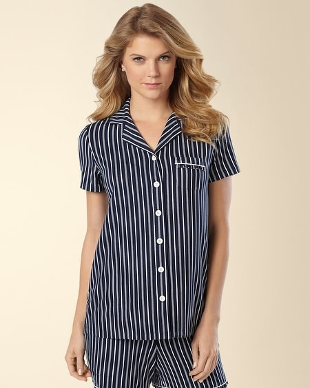 Short Sleeve Notch Collar PJ Top Regency