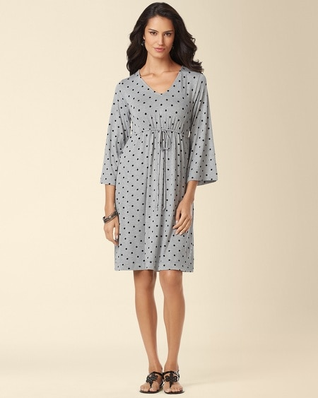 Drawstring Dress Winsome Dot Gray
