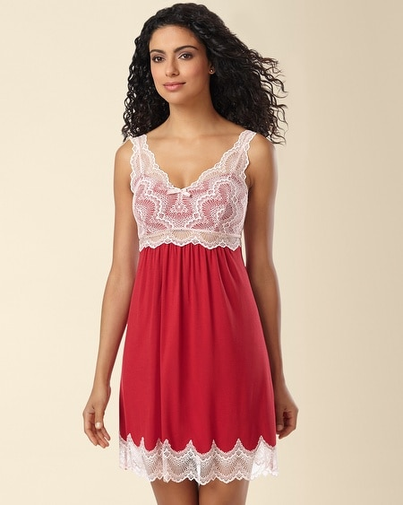 Geo Scallop Lace Sleep Chemise Ruby/Sugar Pink
