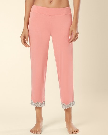 Crop Lace Pajama Pant Coral Hype