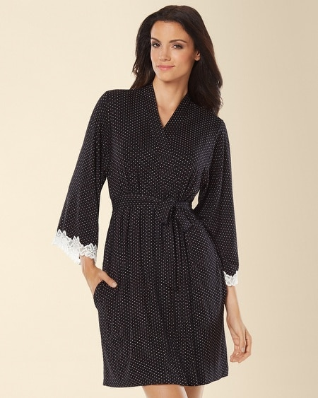 Lace Short Robe Little Dot Black/Ivory
