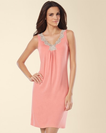 Sleeveless Lace Sleep Chemise Coral Hype