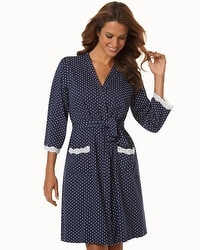 Belabumbum Cotton Nursing Short Robe Navy Dot