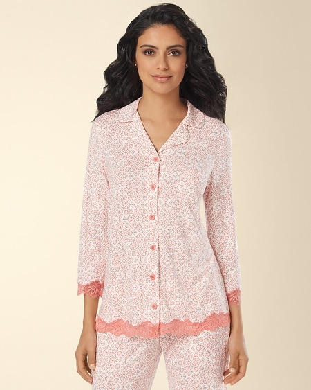 Notch Collar Lace Pajama Top Capri Tile Coral Hype