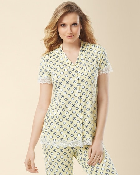 Notch Collar Lace Short Sleeve Pajama Top Foulard Sunlit