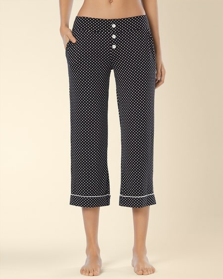 Crop Pajama Pant Mod Dot Black