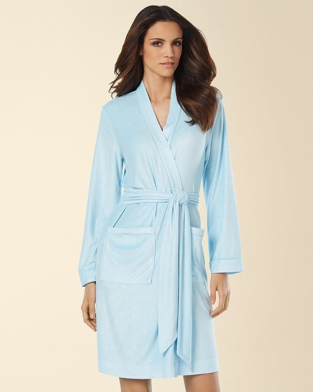 Bamboo Terry Short Robe Seabreeze
