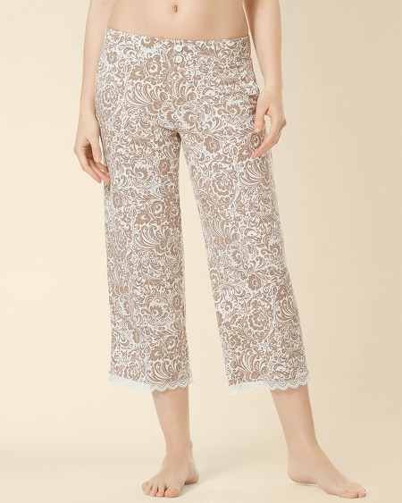 Crop Lace Pajama Pant Feather Flower Latte