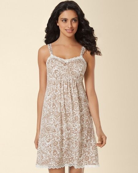Lace Sleep Chemise Feather Flower Latte