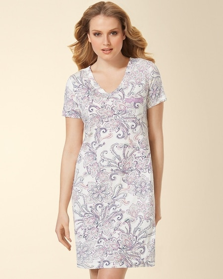V-Neck Sleepshirt Passport Paisley Ivory
