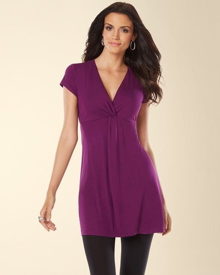 Short Sleeve Knotted Front Tunic Warm Plum