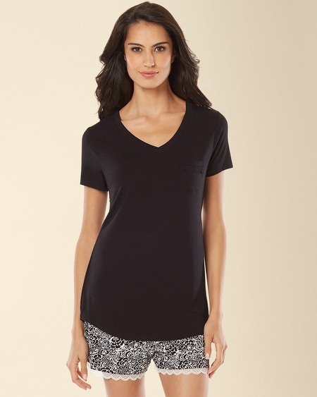 Short Sleeve V-Neck Pajama Tee Black