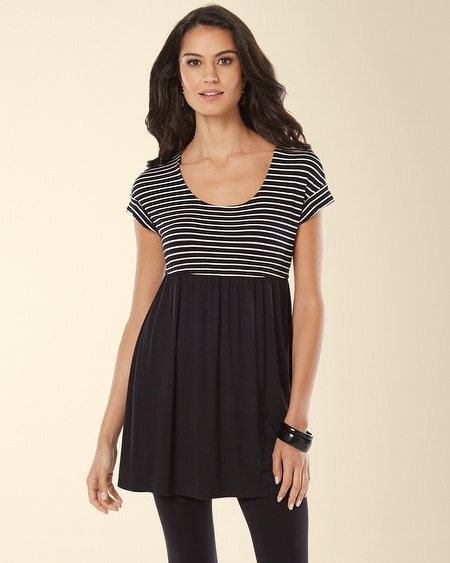 Short Sleeve Empire Waist Tunic Generation Stripe Black