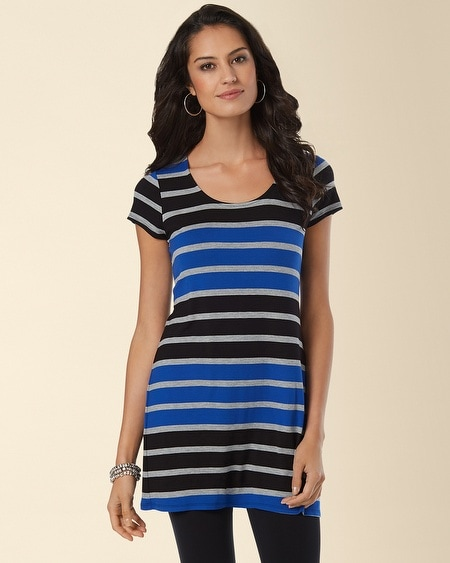 Short Sleeve Scoop Neck Tunic Intensity Stripe Atlantis