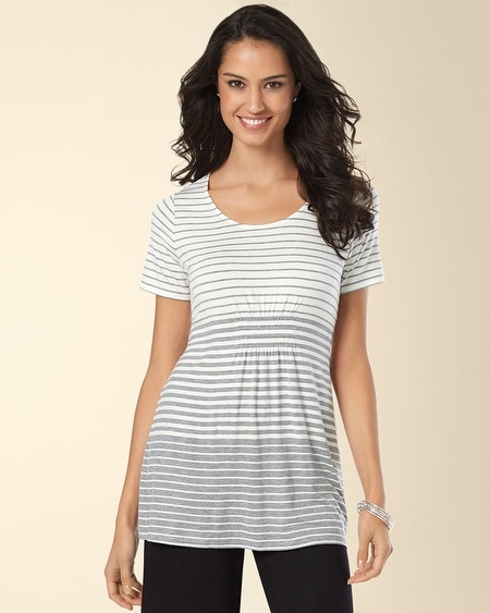 Empire Waist Tee Heather Silver Stripe