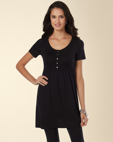 Henley Empire Tunic Top Black