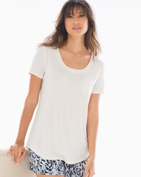 Short Sleeve Pajama Tee with Pocket Ivory