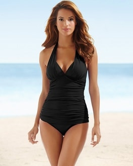 La Blanca Goddess Halter Swim Tankini Top Black