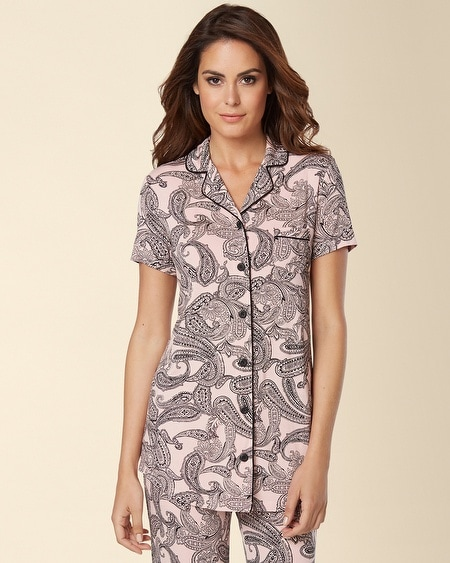 Short Sleeve Notch Collar Piped Pajama Top Pretty Paisley