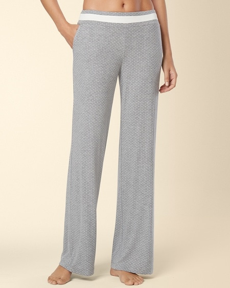 Long Inseam Pajama Pant Little Dot Heather Silver