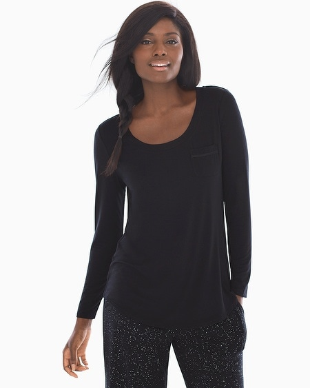 Long Sleeve Satin Pocket Pajama Tee Black